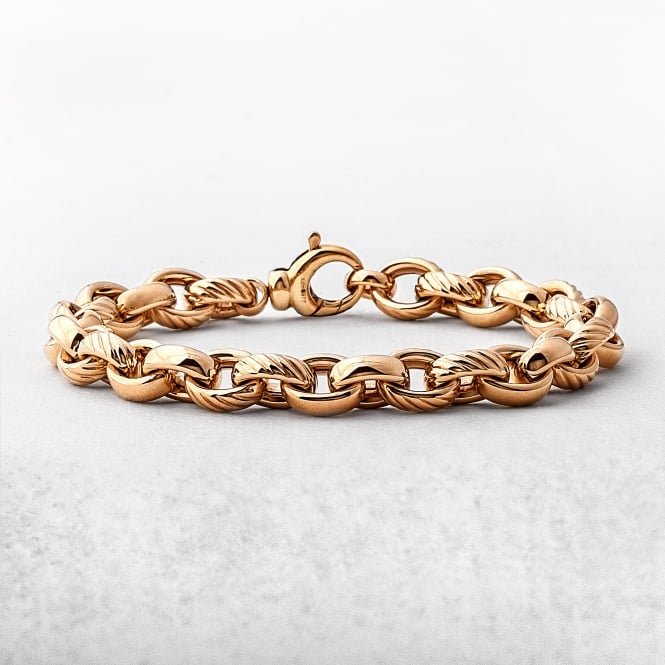 Yellow Gold Fancy Link & Oval Plain Bracelet