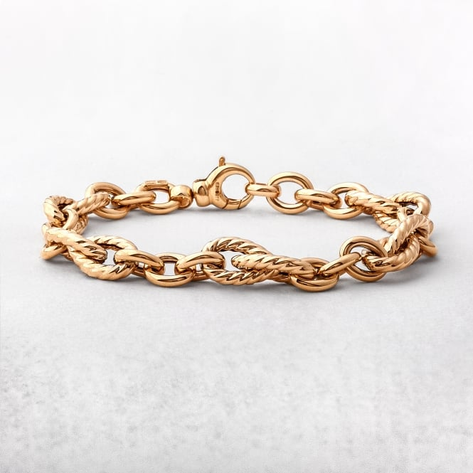 Yellow Gold Fancy & Plain Oval Link Bracelet