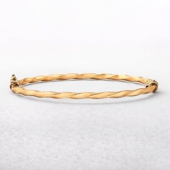Yellow Gold Fine Twist 9ct Bangle