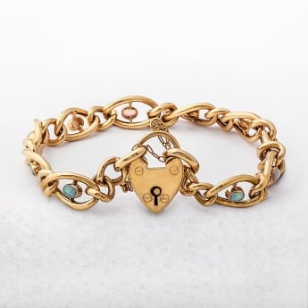 Yellow Gold Opal & Diamond Padlock Bracelet