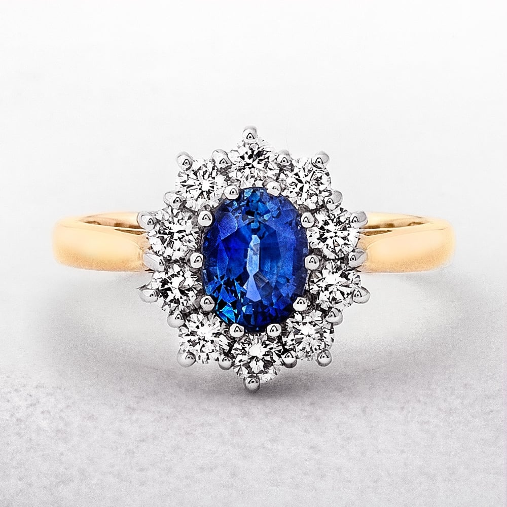 shop antique company diamond oval cluster jewellery the ring sapphire
