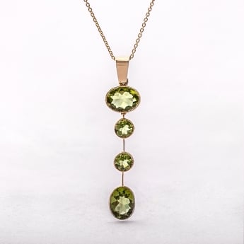 Yellow Gold Peridot Oval Drop Pendent