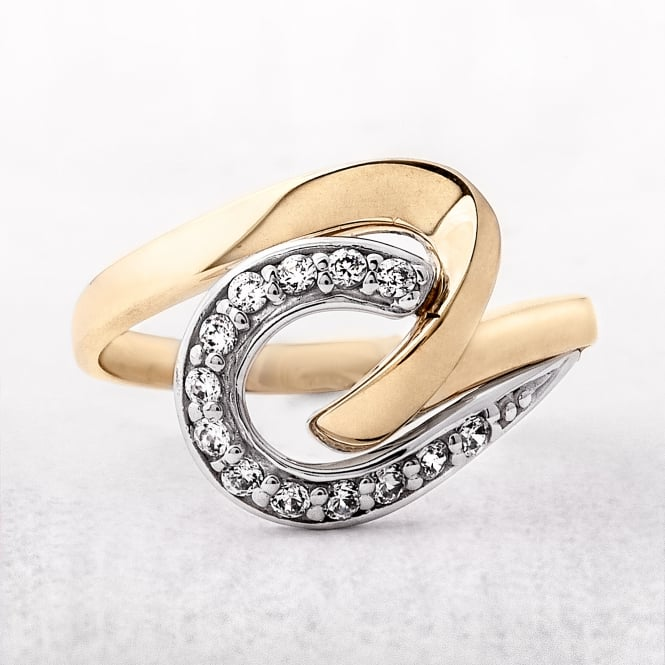 Yellow & White Gold Cubic Zircona Twist Dress Ring